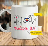Personalized custom state nurse heartbeat coffee mug (Twin Sides) gift for nurse - 2293