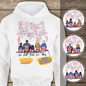 Personalized gifts for the whole family Hoodie 4th Of July - UP TO 5 PEOPLE - 2426