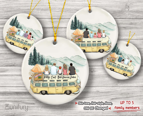 Personalized family Christmas Ceramic Ornaments gifts for the whole family (PRINTED ON BOTH SIDES) - UP TO 5 PEOPLE - Camping - 2426