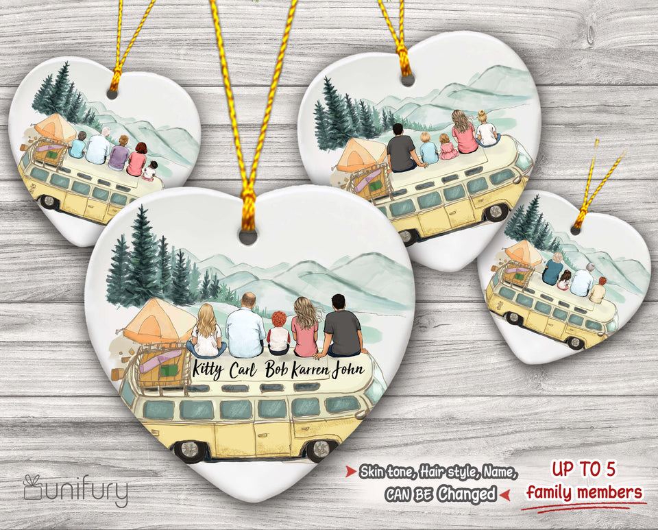 Personalized family members Ceramic Ornament Christmas gift for the whole family - Camping - 2426