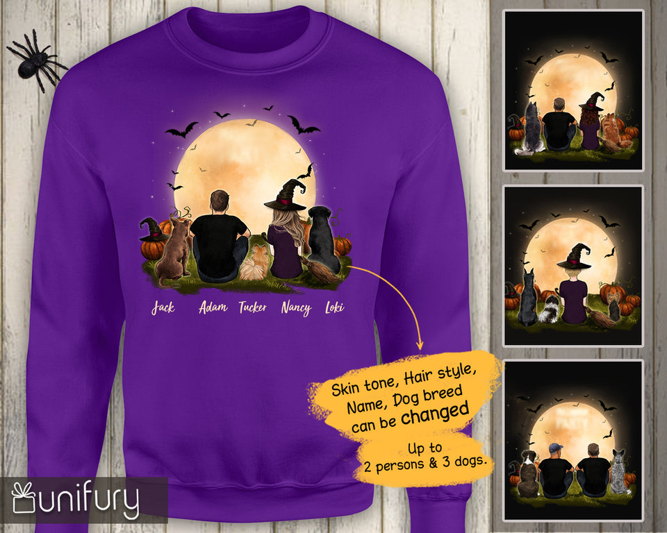 [ FRONT SIDE ] [ ORANGE PURPLE ] Personalized custom dog & couple sweatshirt Halloween gift for dog mom dad lover owner - 2398