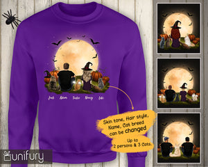 [ FRONT SIDE ] [ ORANGE PURPLE ] Personalized custom cat & couple sweatshirt Halloween gift for cat mom dad lover owner - 2402