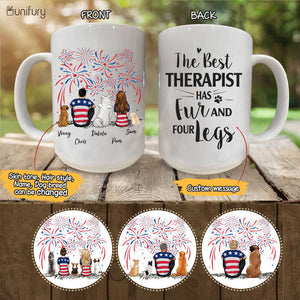 Personalized custom dog & couple coffee mug 4th Of July gift for dog mom dad lover owner - CUSTOM MESSAGE - 2340