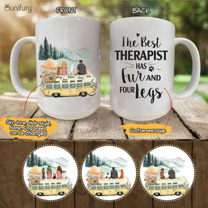 Personalized custom dog & couple coffee mug gift for dog mom dad lover owner - CUSTOM MESSAGE - Camping - 2355