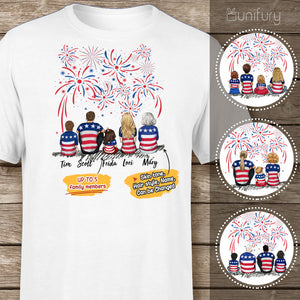 Personalized family members T-Shirt 4th Of July gift for the whole family - UP TO 5 PEOPLE - 2426