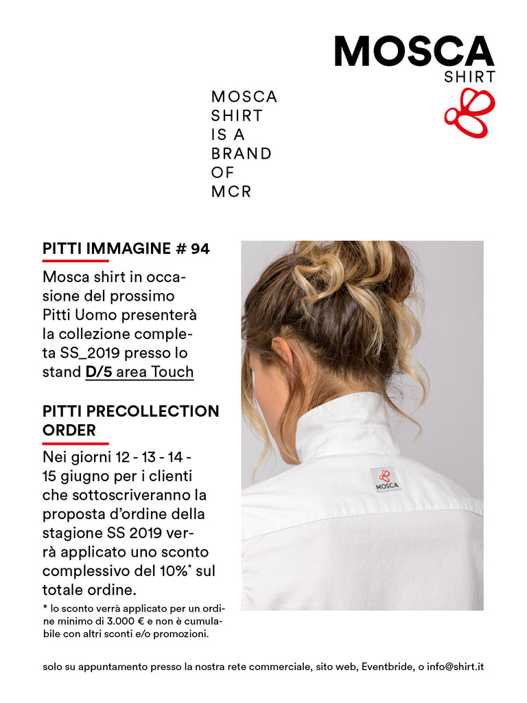 Mosca shirt Pitti collection order