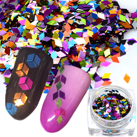 1 doos Ruit Holo Kleurrijke 3D Nail Art Sequin Glitter Slice Paillette Nail Art Vlokken Manicure 3D Sticker Tips TRND296   Tracy Simple Nail