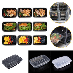 10 stks/set Maaltijd Prep Container Plastic Voedsel Prep Container Microwavable Voedsel Opslag Deksel Bento Box Thermische Lunchbox Accessoire