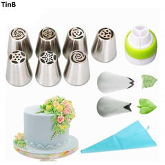 11 stks/set Russische Tulip Rvs Piping Icing Nozzle voor Cream Gebak Accessoires Cake Decoratie Bakken Tools Tips