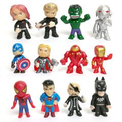 12 stks/setAvengers speelgoed mini de Avengers Actiefiguren Batman Hulk Thor action Speelgoed Superheld model speelgoedvoor jongens