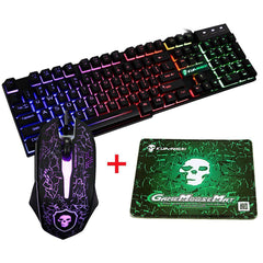Kleurrijke achtergrondverlichting USB Wired Gaming Keyboard 2400DPI LED Gaming Mouse Combo met muismat