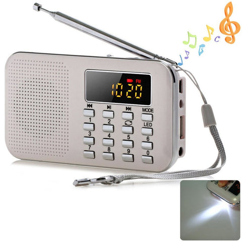 2018Draagbare Mini Stereo LCD Digitale FM Radio Speaker USB TF Card Mp3 Muziekspeler met LED Licht en oplaadbare Batterij
