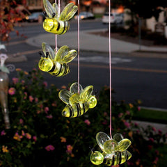 Halloween Light Bee Style Solar LED Verkleurde Windgong Bell Opknoping Fontein Licht Festival Tuin Decor
