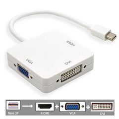 3 in 1 Mini DP displayport-naar HDMI/DVI/VGA Display Port Kabel Adapter voor Apple MacBook Pro   MyXL