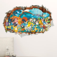 3D Game Pokemon Gaan Kinderen Muursticker Decals DIY Verwijderbare Pocket Monster Voor Kids Baby Nursery Slaapkamer Decor Poster