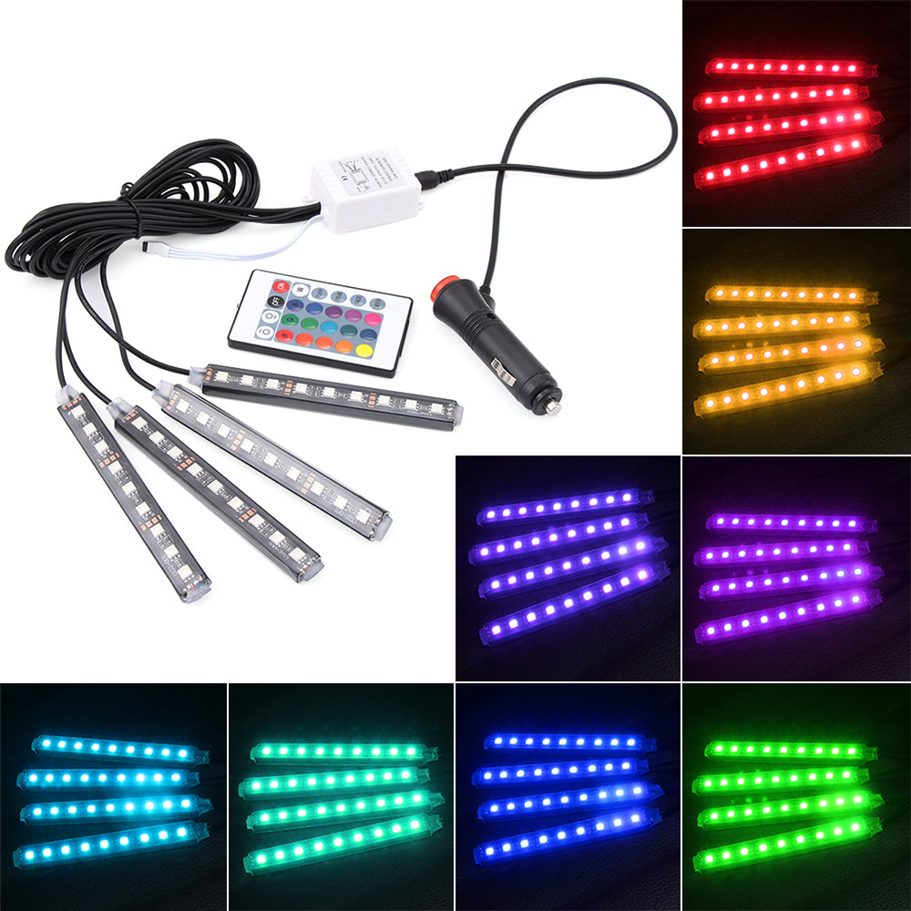 4 stks auto rgb led strip licht led strip verlichting 16. Black Bedroom Furniture Sets. Home Design Ideas