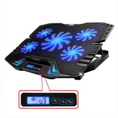 5-Fan Smart Cooling Pad voor 12-15.6 inch Laptop Notebook PCs met LED Touchscreen Speed Control koeler voor Notebook