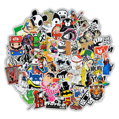 50 stks Gemengde Cartoon Speelgoed Stickers voor Auto Styling Bike Motorcycle Telefoon Laptop Reisbagage Cool Funny Sticker Bomb JDM decals