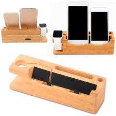 Multifunctionele houten Desktop USB Oplader Houder voor iWatch iPhone Smartphone Tablet