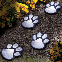 Garden Path Light Solar Powered Lawn Outdoor LED Cat Paw Prints Lights