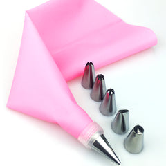 8 Stks/set Siliconen Keuken Accessoires Icing Piping Cream Roze Spuitzak + 6 Rvs Nozzle DIY Cake Decorating Tips