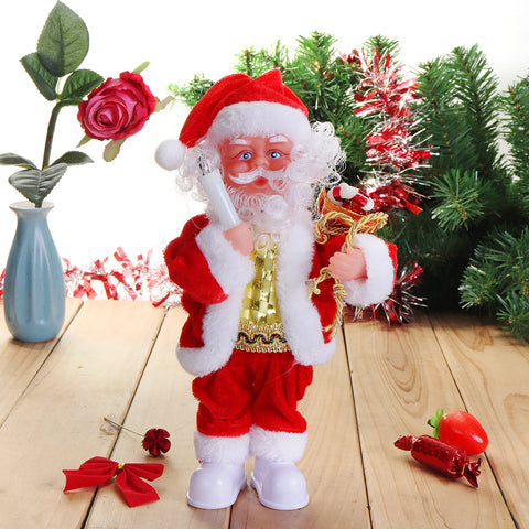 Elektrische Kerstman Doll Christmas Singing Lighting Toys Christmas Gift Home Decorations
