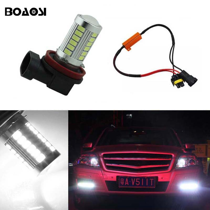 Boaosi 1x H11 H8 Led Canbus Lampen Reflector Spiegel Ontwerp Voor
