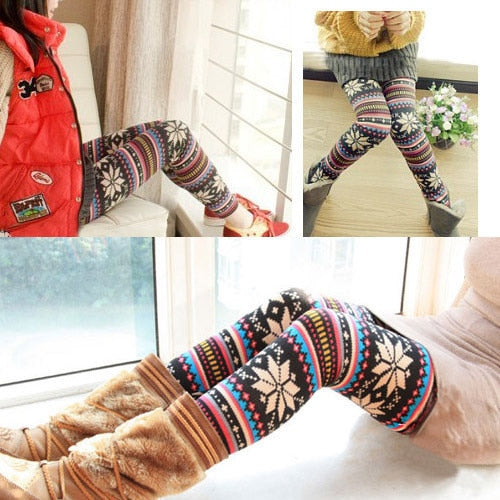 Bestewinter Leggins Vrouwen Fleece Gevoerde Lelijke Kerst Leggings Tribal Sneeuwvlok Patroon Thicken Winter Legging Vrouwen Broek Grandado Com