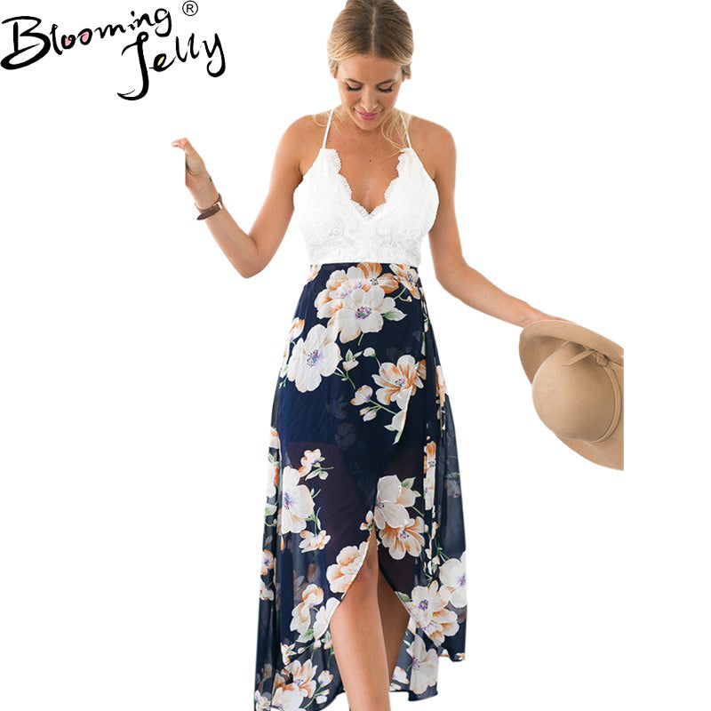 Maxi Chiffon Jurk.Blooming Jelly Backless Bloemenprint Chiffon Jurk Sexy V Hals