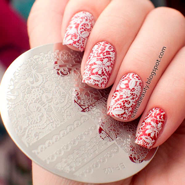 Geboren Pretty Chic Kant Patroon Nail Art Stamping Template