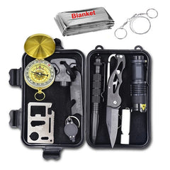 Emergency Survival Gear Multi Tool Professionele Ehbo-kit Outdoor Camping SOS Survival Tool Kit Fluitje Zaklamp Mes