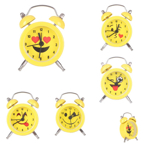 Emoji Emoticon Twin Bel Stille Legering Roestvrij Metalen Leuke Wekkers Kids 2018 drop