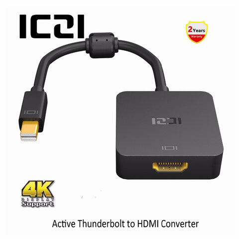 ICZI Thunderbolt Mini DP naar HDMI Adapter 4 k 60 hz Mini Displayport 1.2 naar HDMI 2.0 Converter voor Macbook surfacebook Zwart