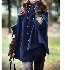 IMC vrouwen Breasted Poncho Cape Wollen Mantel Jas Bovenkleding