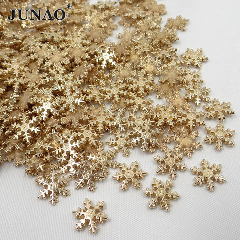 JUNAO 12mm Sneeuwvlok Hotfix Goud Kleur Strass PatchesFix Metalen Motieven  Iron On Patches Kleding Applique 100 a78340ee277d