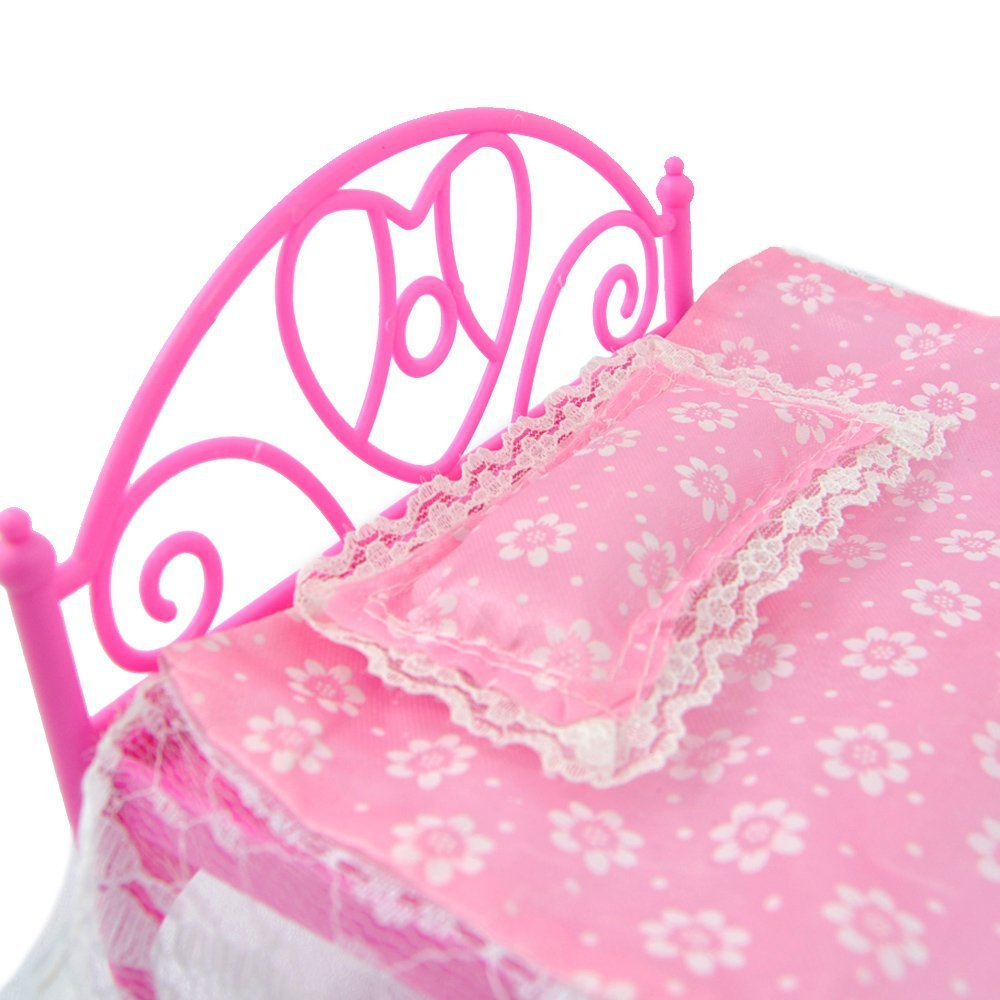 5 Star Beauty Fashion Milledgeville Ga: LeadingStar Roze Mini Bed Met Kussen Voor Barbie Poppen