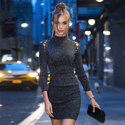665e5f168c89e4 Macheda Vrouwen Mode Stand Hollow Out Lange Mouwen jurk 2018Hoge Taille  BodyconCasual Party Schede Jurken