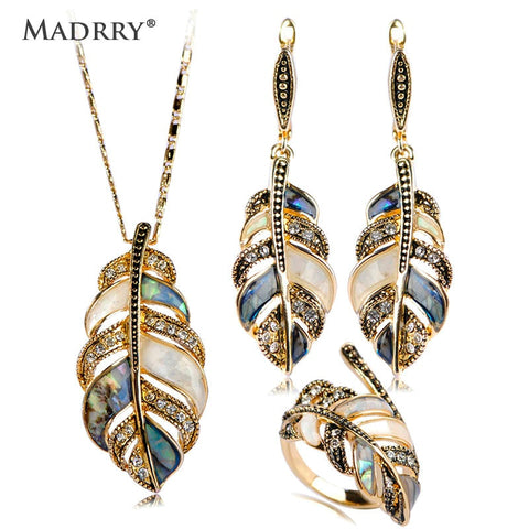 Madrry Legering Metalen Shell Crystal Sieraden Sets Ketting Oorbellen & Ring Bladvorm Party Schmuck Sets Mujer Trui Accessoires