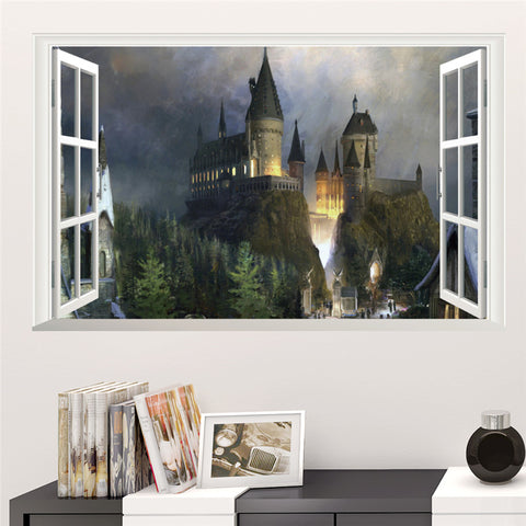 Magic Harry Potter Muurstickers Poster 3D Venster Hogwarts Decoratieve Muurstickers Tovenaarswereld School Voor Kids Slaapkamer Decal