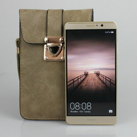 Matte Lederen Mini Crossbody Tas Mobiel Portemonnee Pouch voor Huawei P10 Plus/Mate 10 Voor iPhone 8 Plus Galaxy Note 5/S8 +