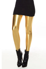 Metallic Wetlook Vloeibare Leggings Shiny Stretch Vrouwen Potlood Broek (gold)