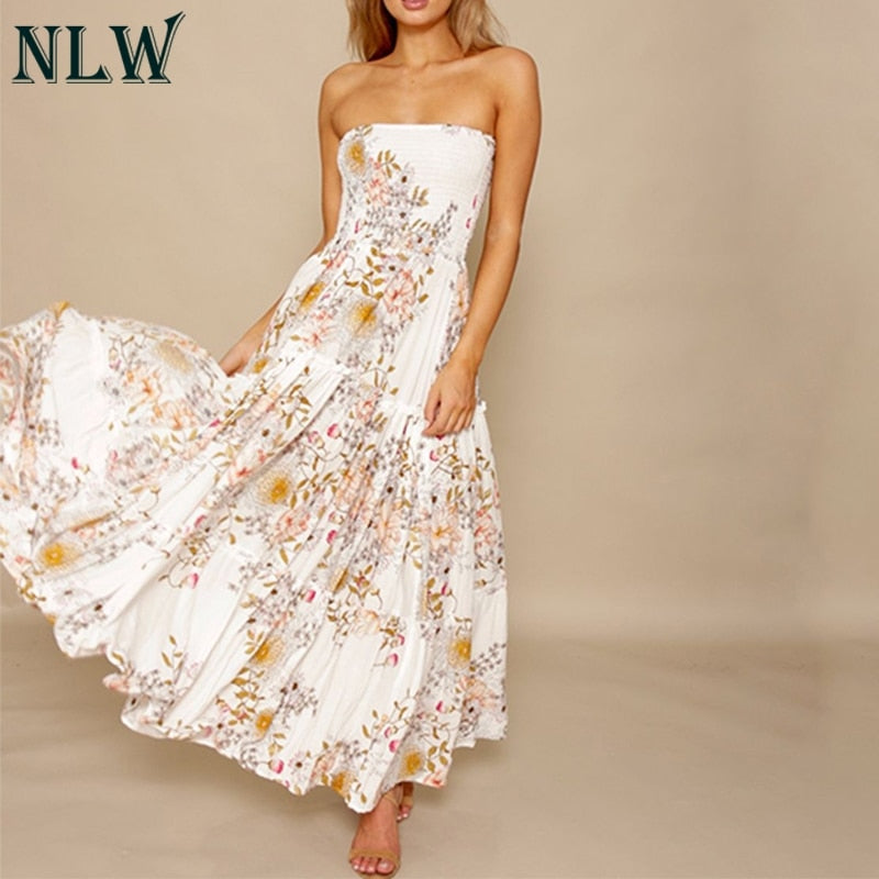 35adce7559 NLW Wit Bloemenprint Off Shoulder Jurk Ruches Boho Strapless Summer Beach  Maxi Lange Jurken Sexy Party