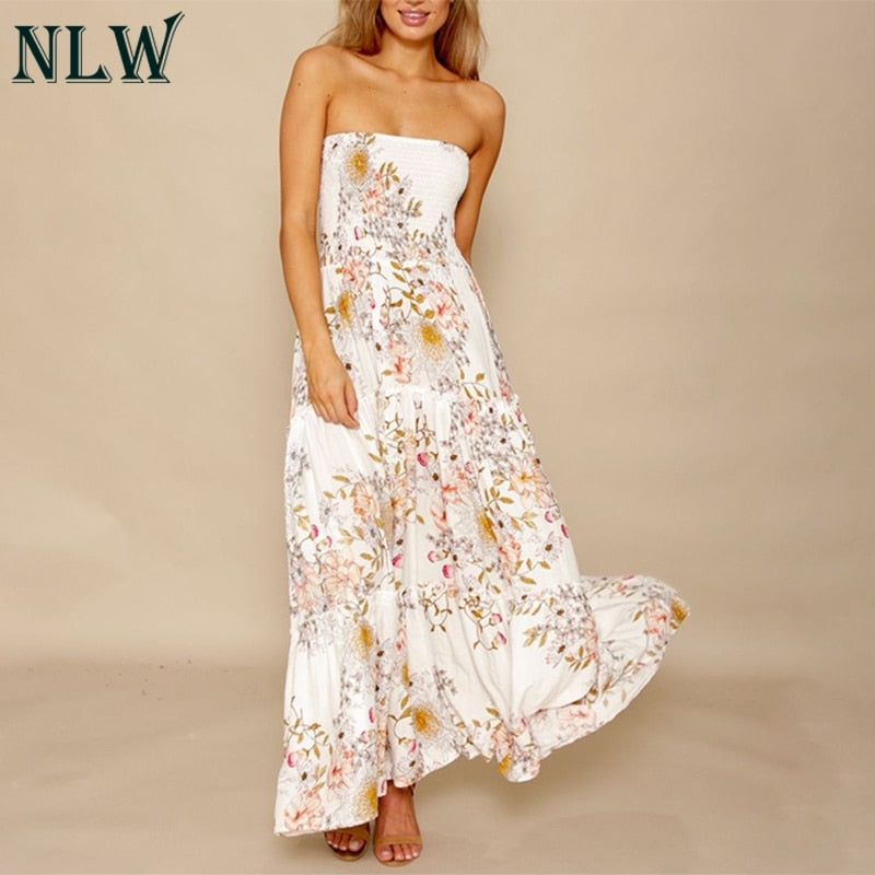 989c9a8aba ... NLW Wit Bloemenprint Off Shoulder Jurk Ruches Boho Strapless Summer  Beach Maxi Lange Jurken Sexy Party ...