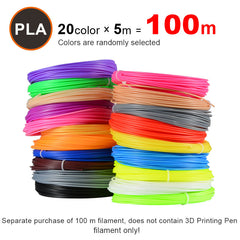 20 stuks/partij 3D Printer Filament 5 m/stks 20 Kleuren 1.75mm PLA 3D Print Filament Voor 3D printer Of 3D Pen