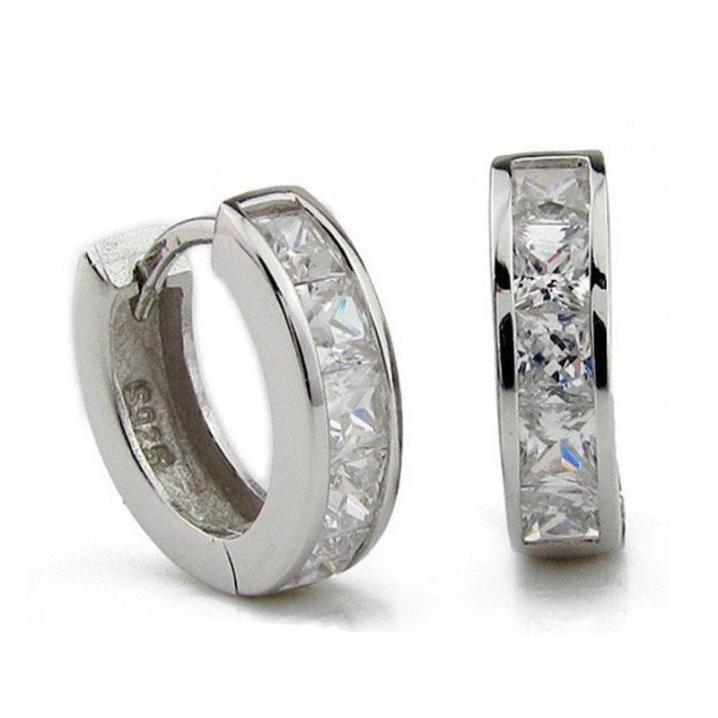 Yeslady Triangle Edge With Austria Crystal 70mm Platinum Plated Big Hoop Earrings for Women Girls