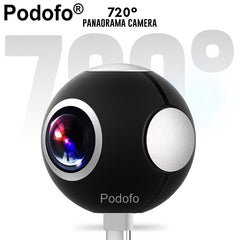 Podofo Mini HD Panoramisch 360 Camera Brede Dual Hoek Fish Eye Lens VR Video Camera voor Smartphone Type-c USB Sport & Action Cam