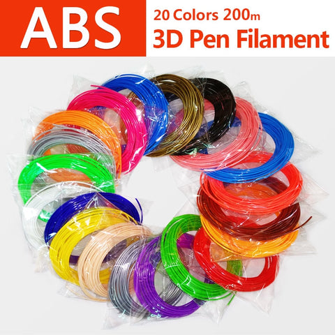 Kwaliteit product abs 1.75mm 20 kleuren 3d pen filament pla filament abs filament 3d pen plastic 3d printing filament abs plastic