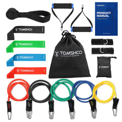 TOMSHOO 15 stks Weerstand Bands kits Workout Fintess Oefening Bands Set Loop Buis Band Deur Anker Enkelband Cushioned Handles