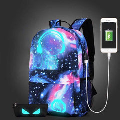 Tiener Meisjes Galaxy Schooltas Noctilucent Rugzak Collection Canvas USB Charger Anti-Diefstal Slot