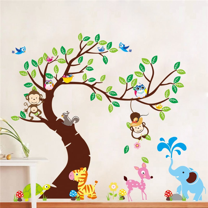 Decoratie Boom Kinderkamer.Boom En Monkey Muursticker Kinderkamer Achtergrond Muur Sticker Zypa 1214 Diy Decoratie Nursery Daycare Babykamer Decor